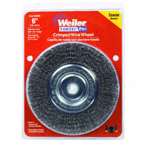 Weiler  Vortec Pro  6 in. Crimped  Wire Wheel Brush  Carbon Steel  6000 rpm 1 pc.