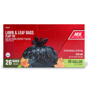 Ace  39 gal. Lawn and Leaf Bags  Flap Tie  26 pk
