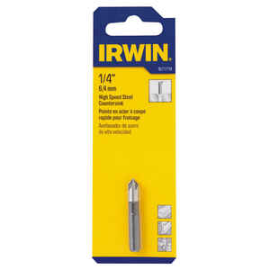 Irwin  1/4 in. Dia. High Speed Steel  Countersink  1/4 in. Round Shank  1 pc.