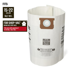 Craftsman  2 in. L x 10 in. W Wet/Dry Vac Filter Bag  16-22 gal. 1 pc.