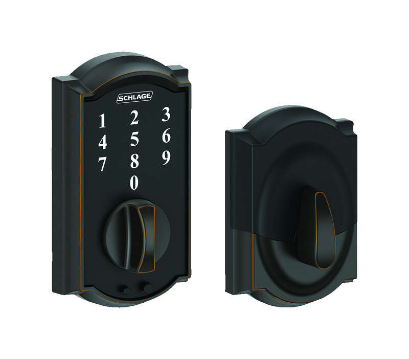Schlage  Aged Bronze  Steel  Touch Screen Deadbolt