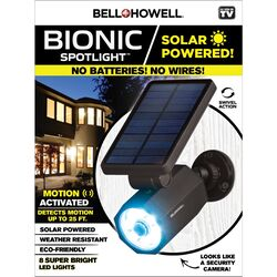 Bell + Howell Bionic Motion-Sensing Solar Powered LED Black Spotlight