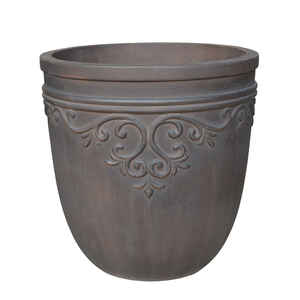 Southern Patio  GRC  14-1/2 in. H x 14 in. W Brown  Cement  Round Midrise  Planter