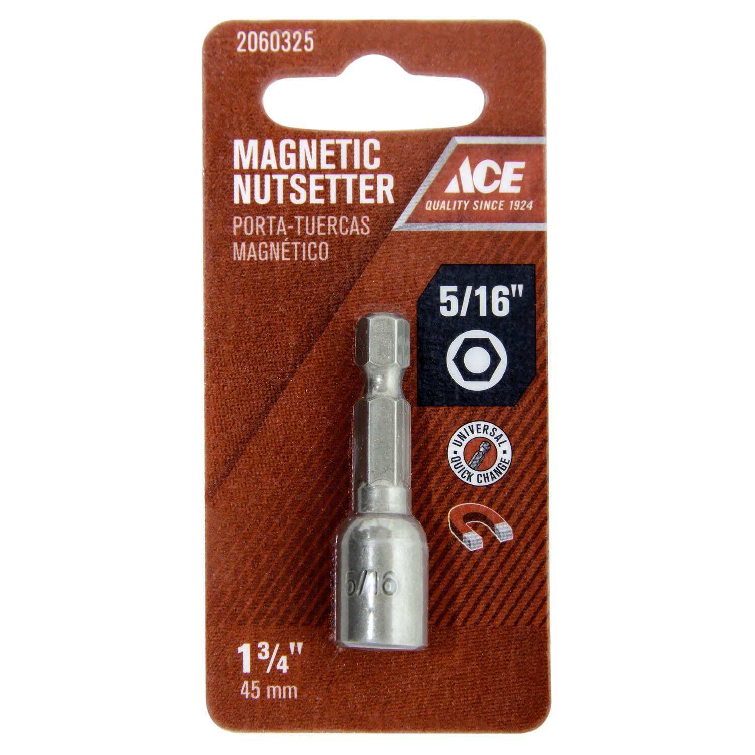 Ace  5/16 in.  x 1-3/4 in. L Chrome Vanadium Steel  Magnetic Nut Setter  1 pc.