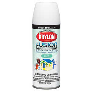Krylon  Flat  Fusion Spray Paint  12 oz. White