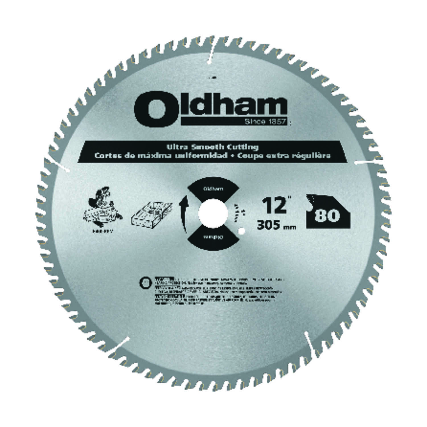 Oldham  12 in. Dia. x 1 in.  Carbide Tipped  Circular Saw Blade  80 teeth 1 pk
