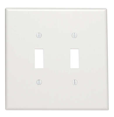 Leviton White 2 gang Thermoset Plastic Toggle Wall Plate 1 pk