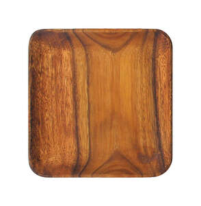 Pacific Merchants  Brown  Acacia Wood  square plate  Plate  1