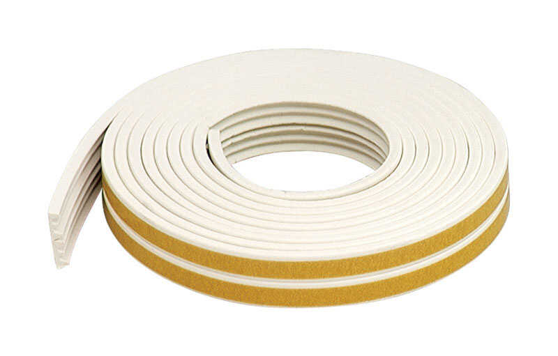 M-D Building Products  White  Rubber  17 ft. L x 3/8 in.  For Door and Window Weather Stripping