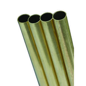 K&S  17/32 in. Dia. x 12 in. L Round  1  Brass Tube