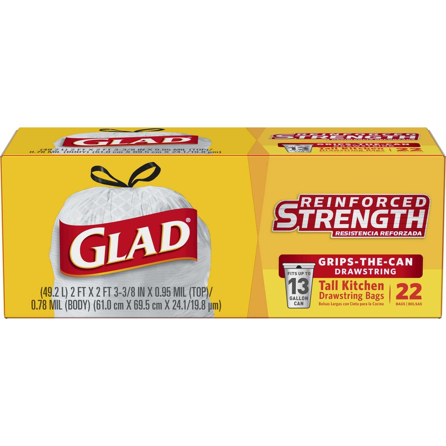 Glad  13 gal. Kitchen Trash Bags  Drawstring  22 pk