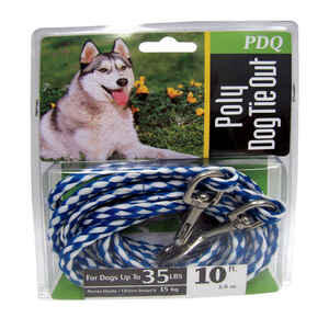 Boss Pet  PDQ  Blue / White  Tie-Out  Poly  Dog  Tie Out Rope  Small/Medium