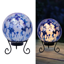 Alpine  Glass  Blue  10 in. H LED  Gazing Ball