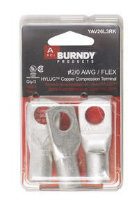 Burndy  Insulated Wire  Ring Terminal  3 pk