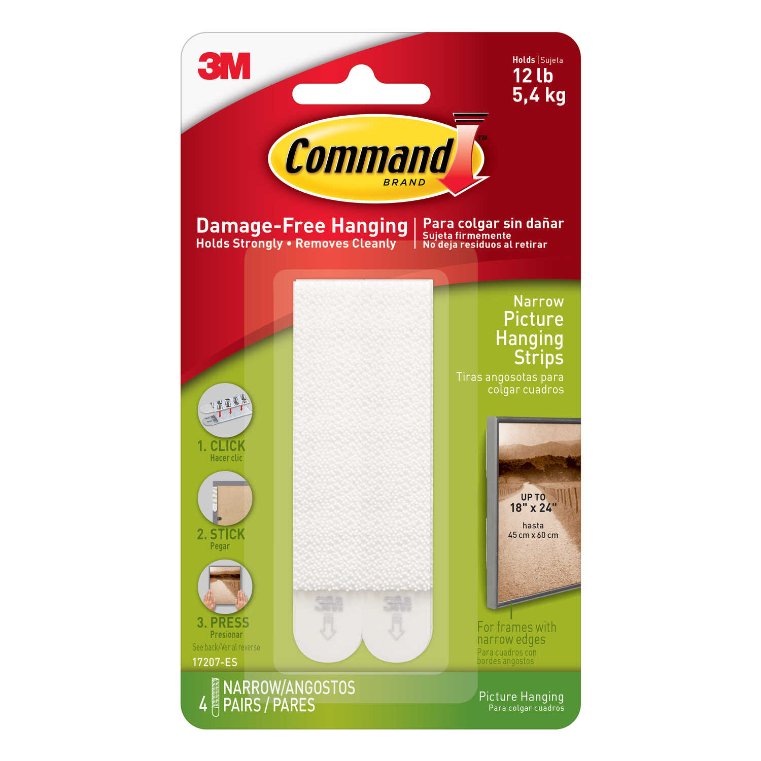 3M  Command  Narrow  White  Foam  Picture Hanging Strips  Picture Hanging  4 lb. per Set  8 pk 12 lb