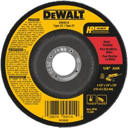 DeWalt High Performance 4.5 in. Dia. x 1/4 in. thick x 7/8 in. Grinding Wheel 1 pc.
