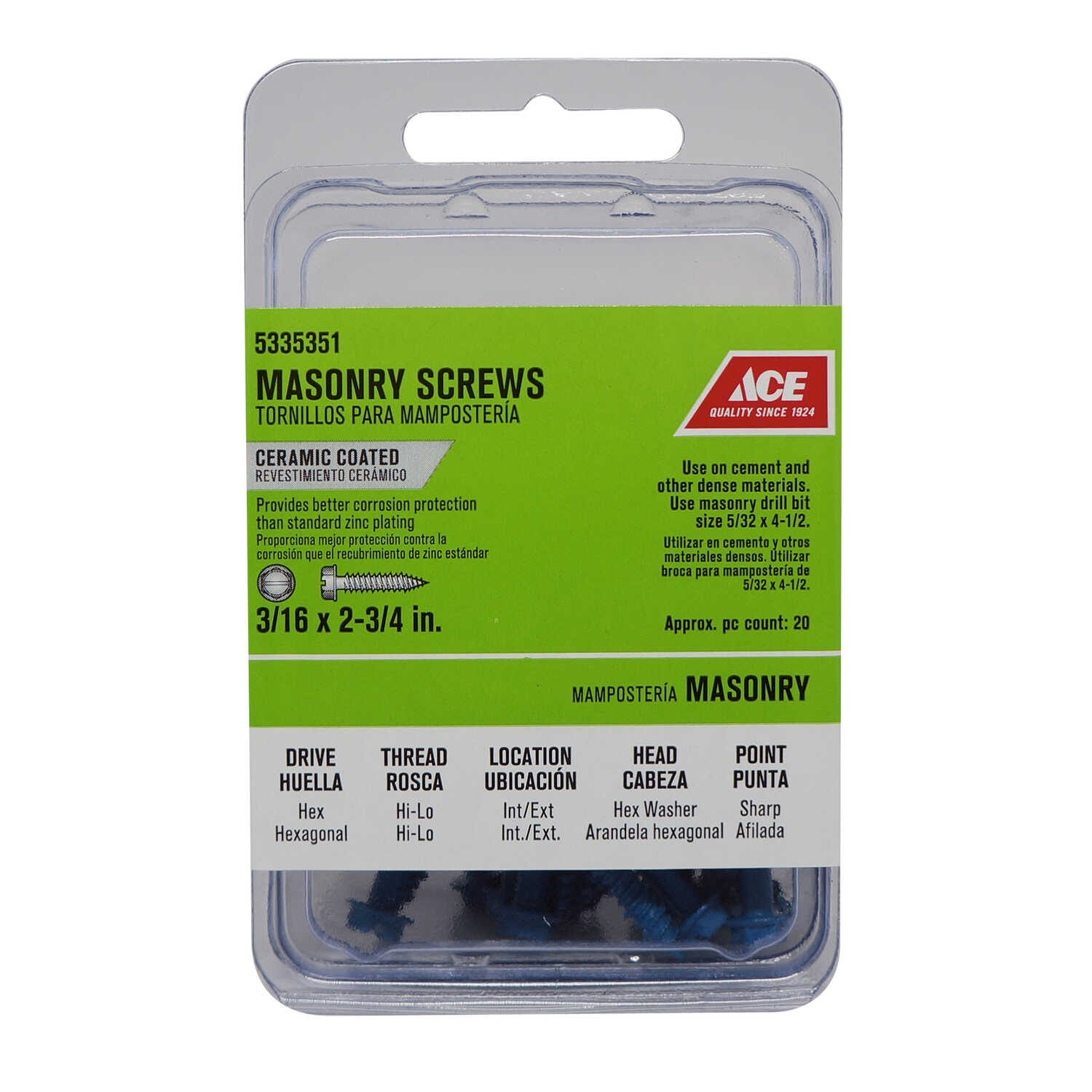 Ace  3/16 in.   x 2-3/4 in. L Slotted  Hex Washer Head Ceramic  Steel  Masonry Screws  20 pk