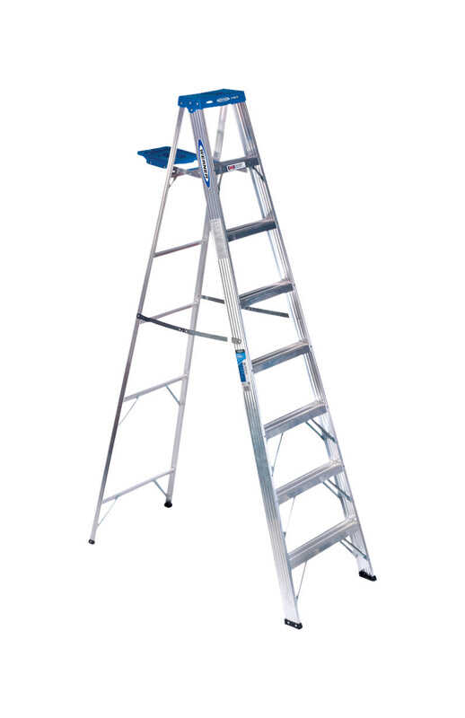 Werner  8 ft. H x 24.5 in. W Aluminum  Type I  250 lb. capacity Step Ladder