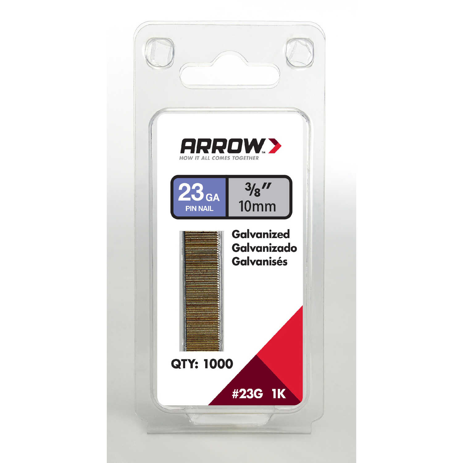 Arrow Fastener  23 Ga. Smooth Shank  Straight Strip  Pin Nails  3/8 in. L x 0.03 in. Dia. 1,000 pk