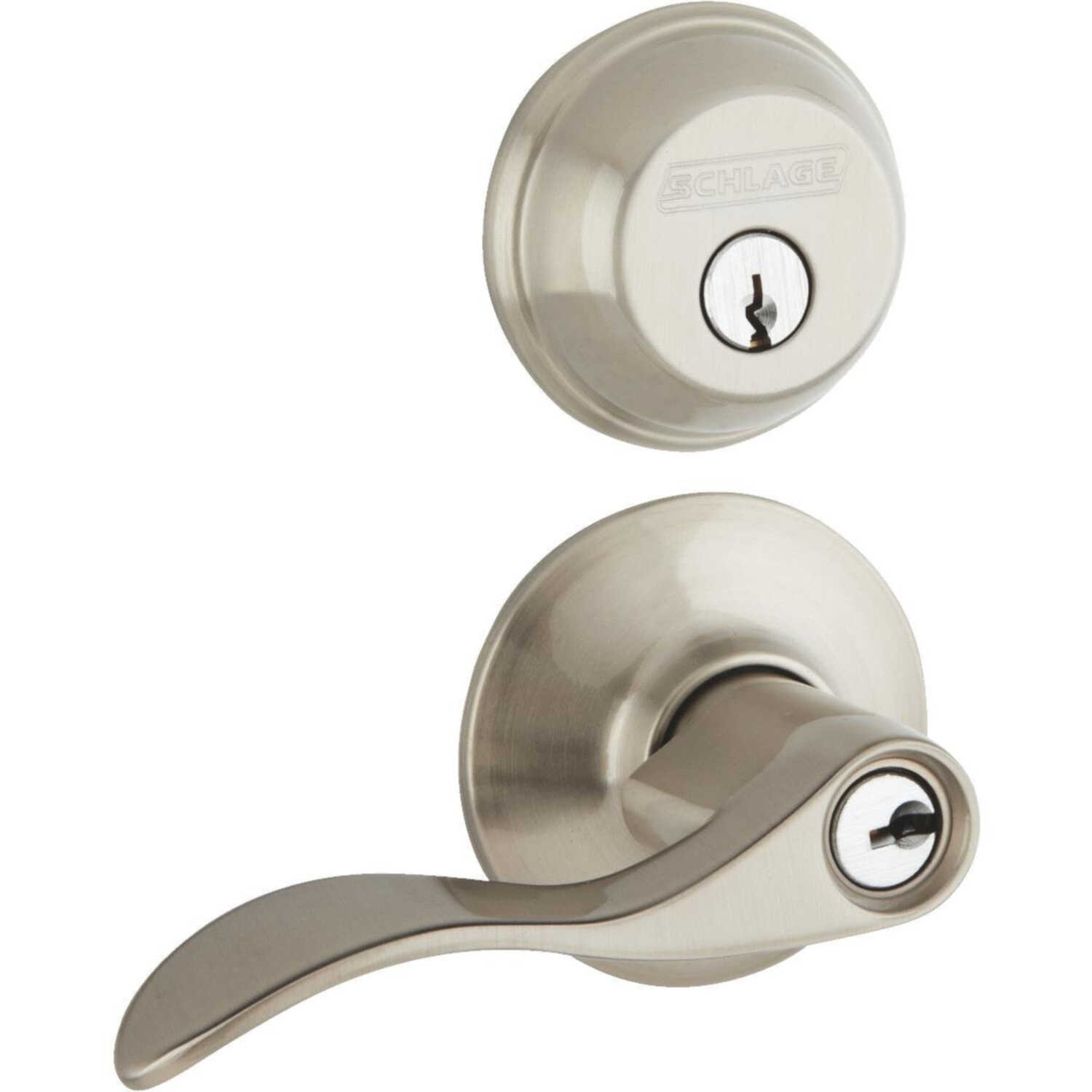 Schlage  Accent  Satin Nickel  Steel  Lever and Single Cylinder Deadbolt  1-3/4 in. ANSI Grade 2