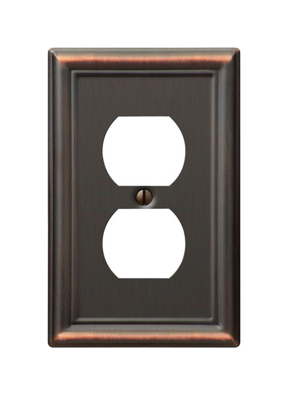 Amerelle  Chelsea  1 gang Stamped Steel  Wall Plate  1 pk Duplex Outlet