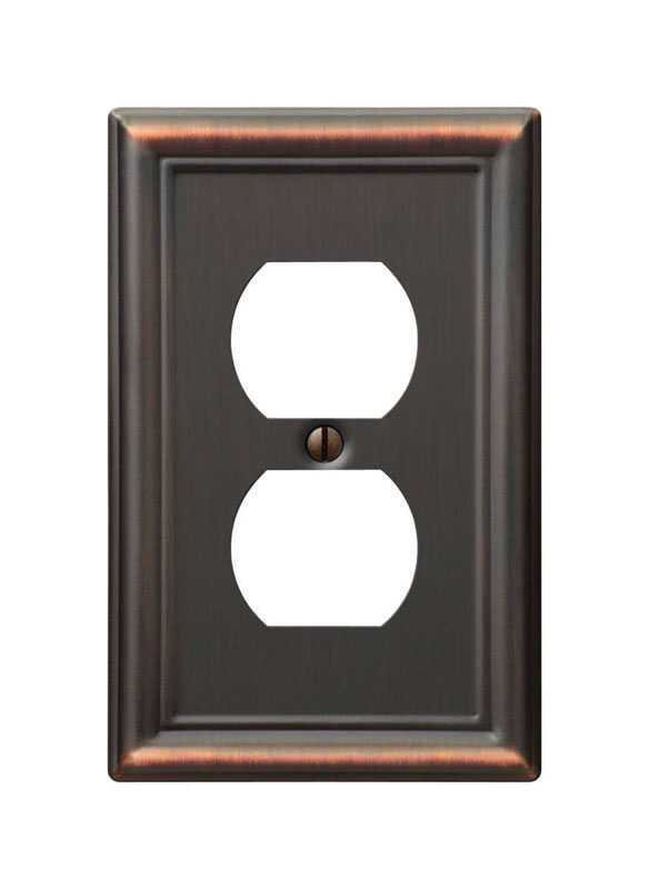 Amerelle  Chelsea  Aged Bronze  1 gang Stamped Steel  Duplex Outlet  Wall Plate  1 pk
