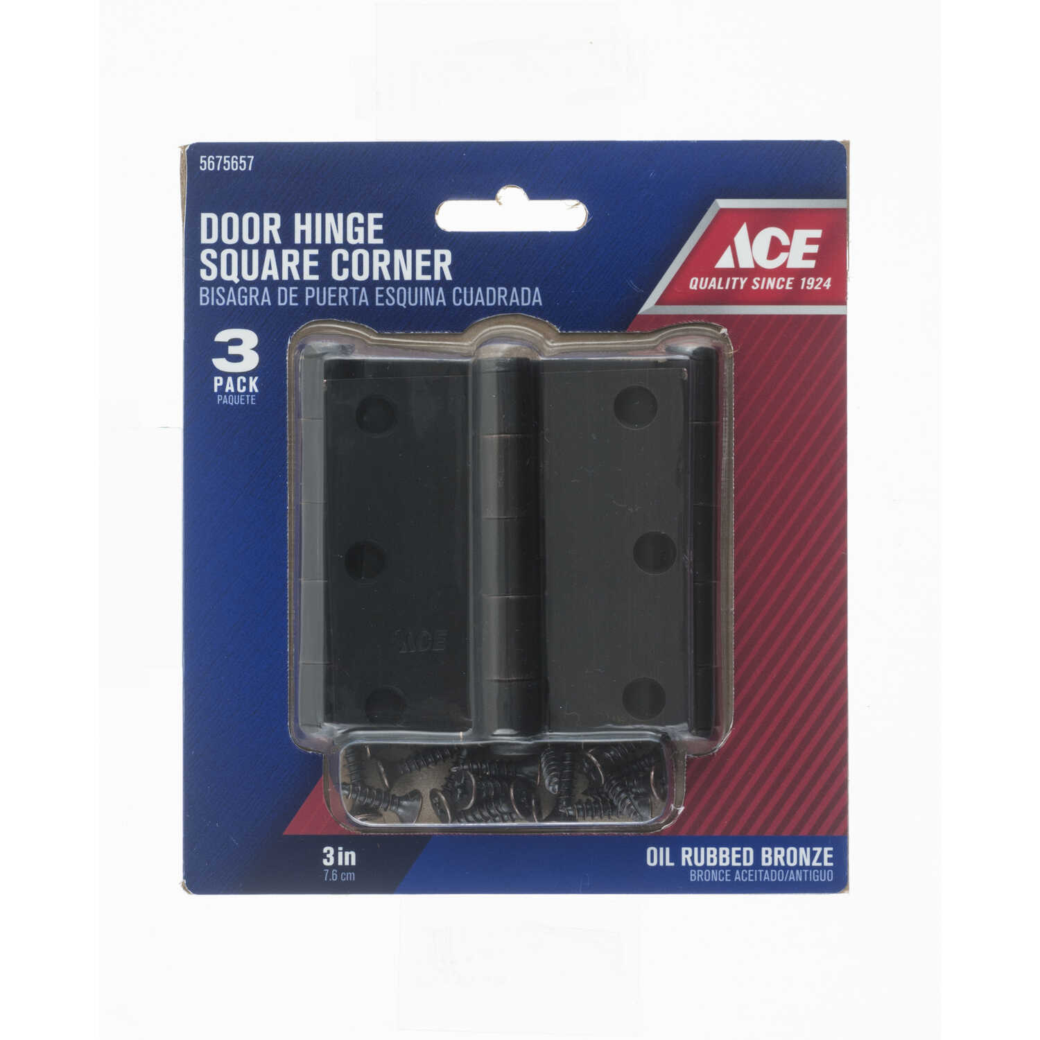 Ace  3 in. L Oil Rubbed Bronze  Steel  Door Hinge  3 pk