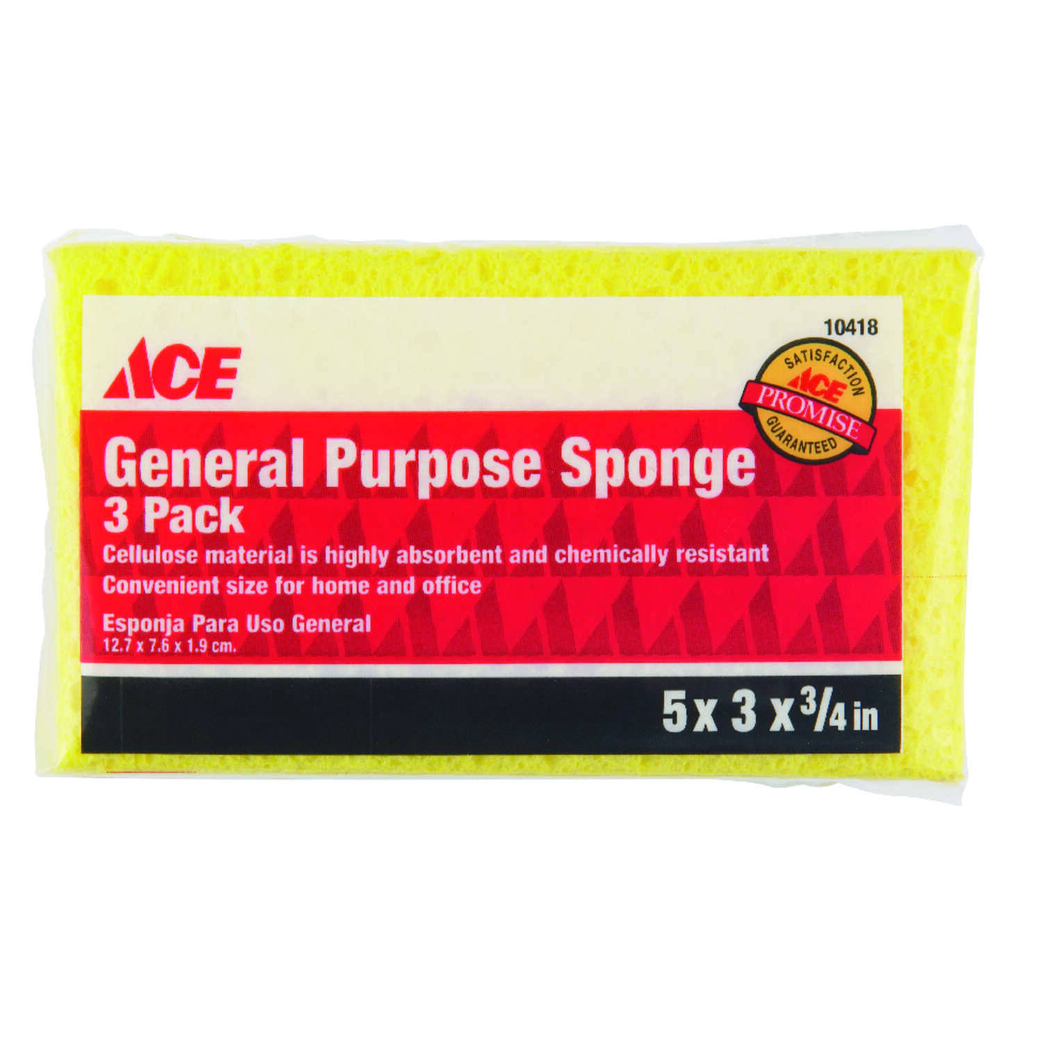 Ace  Delicate, Light Duty  Sponge  4.8 in. L 3 pk