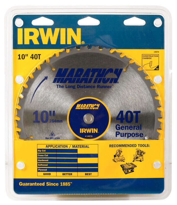Irwin  10 in.  Dia. x 5/8 in.  Carbide  Miter and Table Saw Blade  1 pk