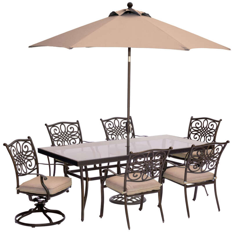 Hanover  7 pc. Brown  Aluminum  Dining Patio Set  Tan