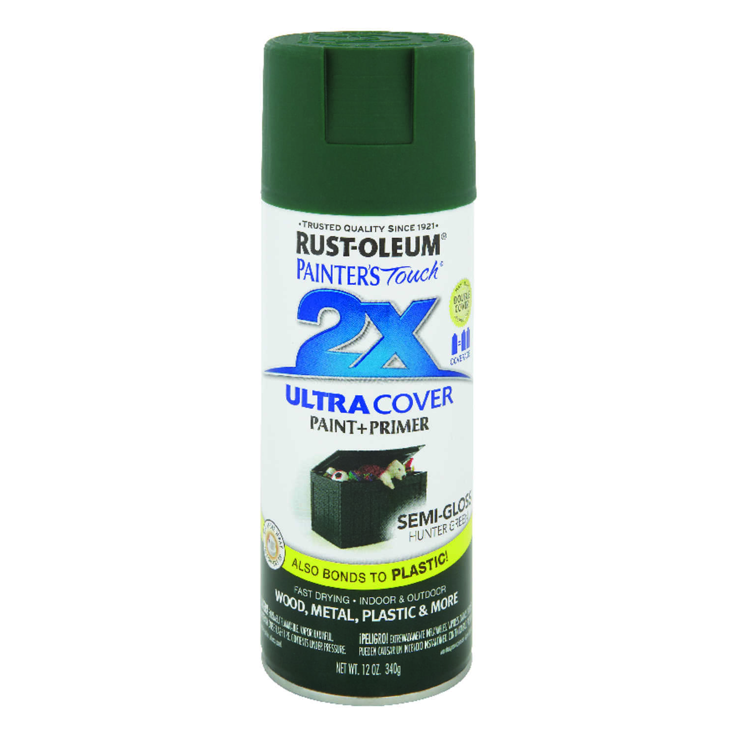 Rust-Oleum  Painter's Touch Ultra Cover  Semi-Gloss  Spray Paint  Hunter Green  12 oz.