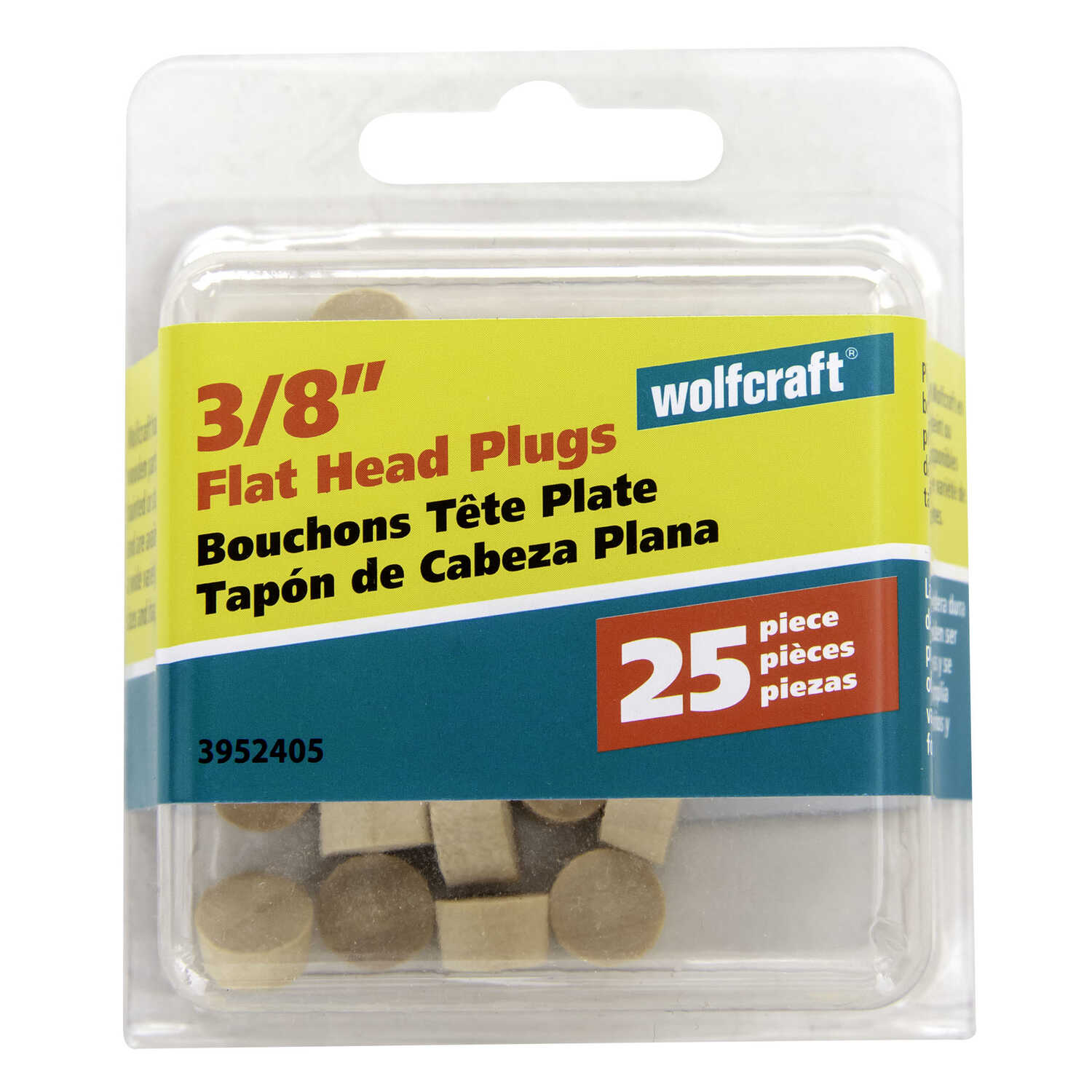 Wolfcraft  Flat  Birch  Flat Head Plug  3/8 in. Dia. x 1/4 in. L 25 pk Natural