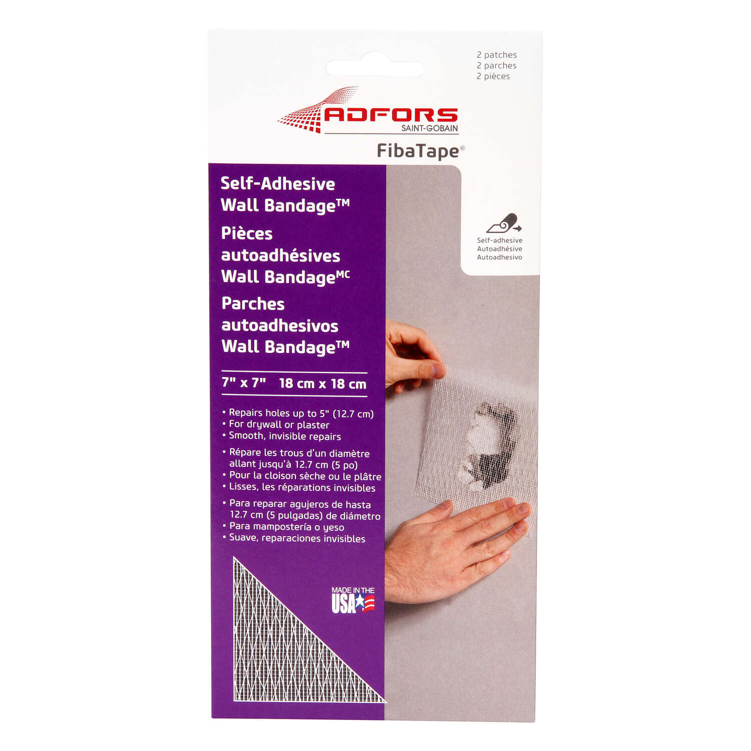 Adfors  FibaTape  0.7 in. L x 7 in. W Fiberglass Mesh  White  Self Adhesive Wall Repair Patch