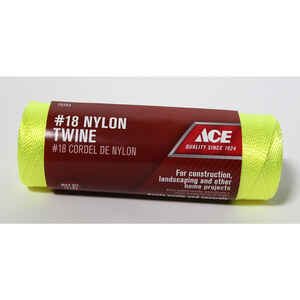 Ace  18 in. Dia. x 525 ft. L Yellow  Twisted  Nylon  Mason Line