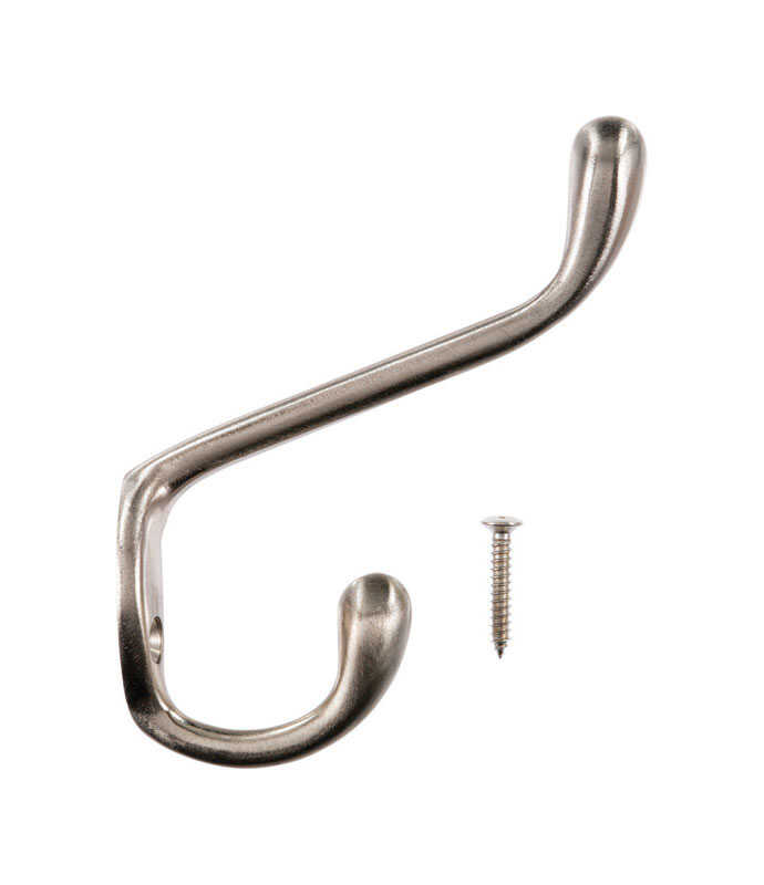 Ace  Satin Nickel  Silver  Metal  Large  3-1/2 in. L Garment  1 pk Hook