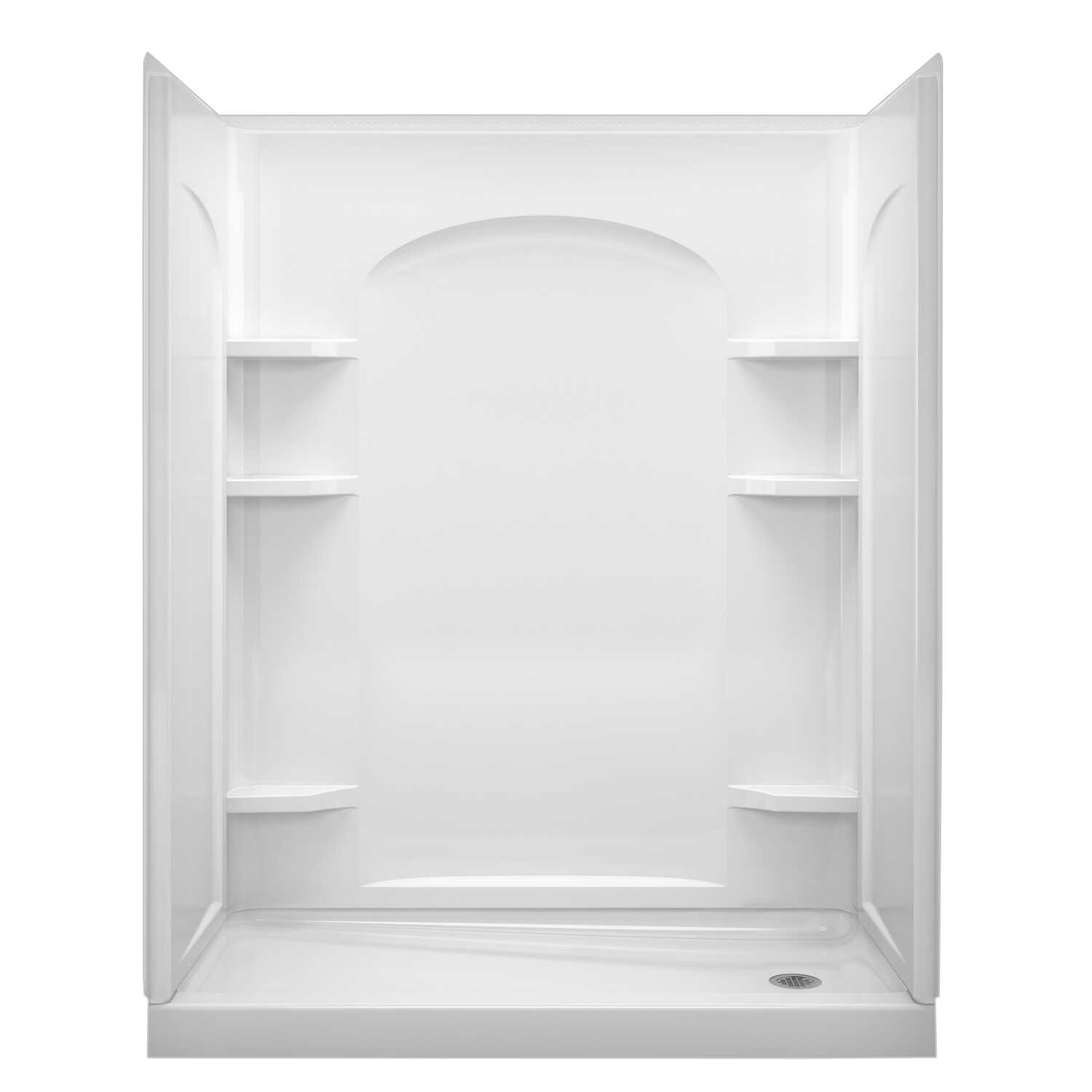 Sterling  Ensemble  72.5 in. H x 30 in. W x 60 in. L White  Shower Back Wall  One Piece  Rectangular