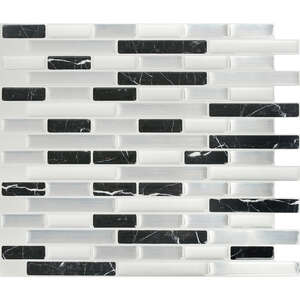 Peel and Impress  11 in. L x 9.3 in. W White  Vinyl  Adhesive Wall Tile  Multiple Finish (Mosaic)  4