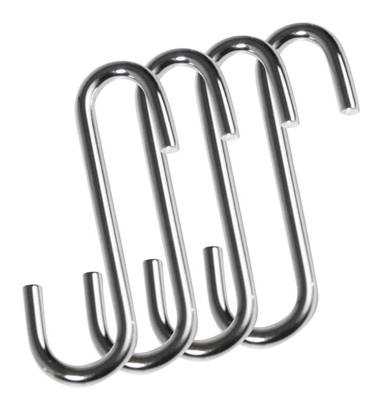 Honey Can Do  Small  Chrome  Silver  Steel  3 in. L Hook  20 lb. 4 pk