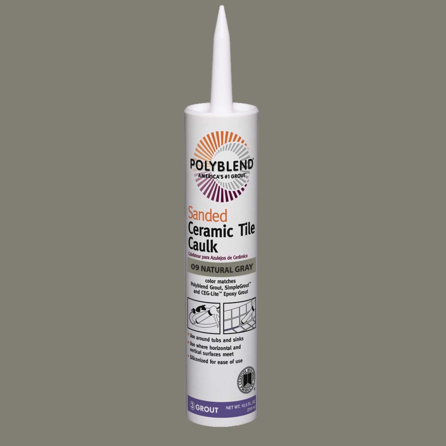 Custom Building Products  Natural Gray  Siliconized Acrylic  Caulk  10.5 oz. Polyblend