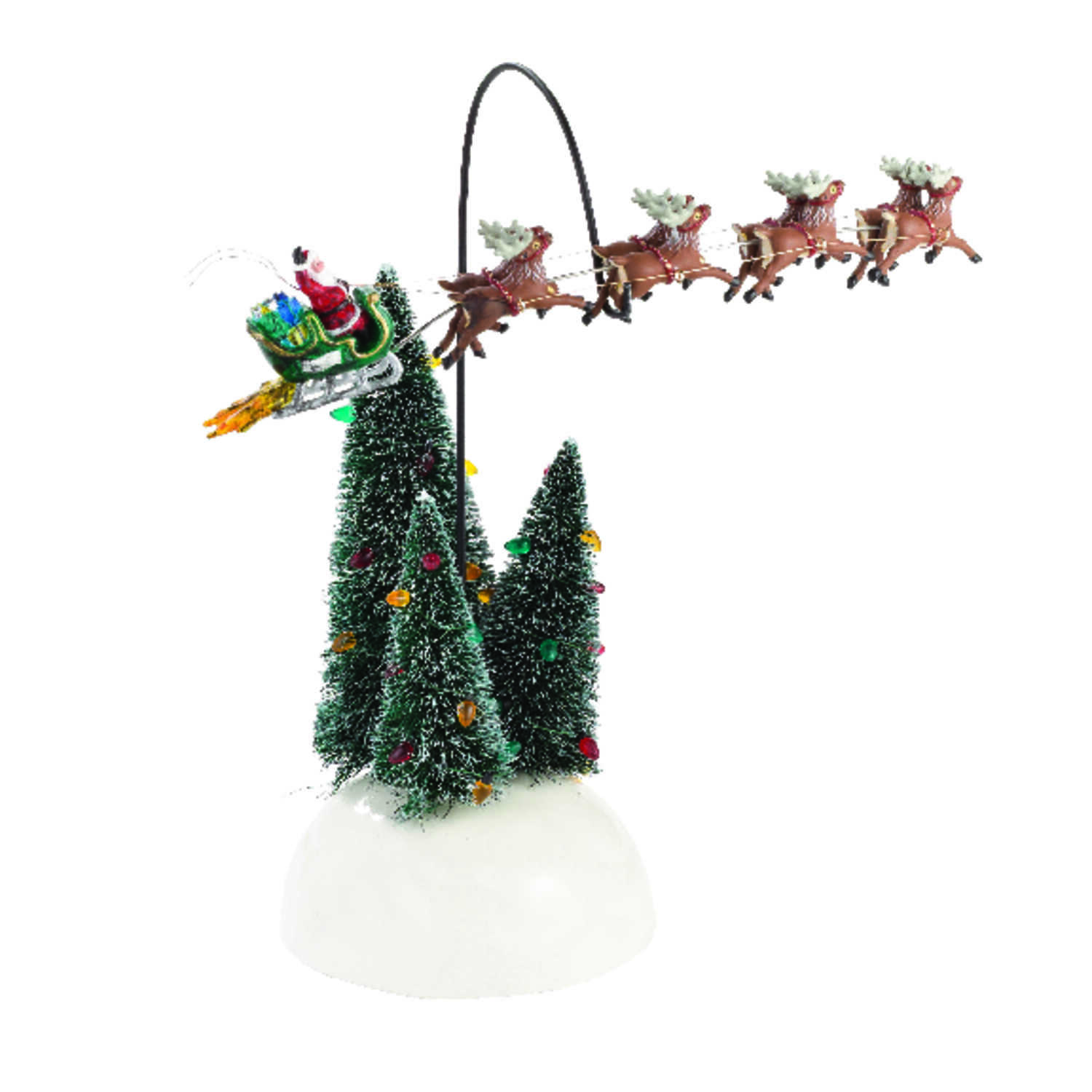Department 56  Christmas Vacation Flaming Sleigh  Village Accessory  Porcelain  1 each Multicolored