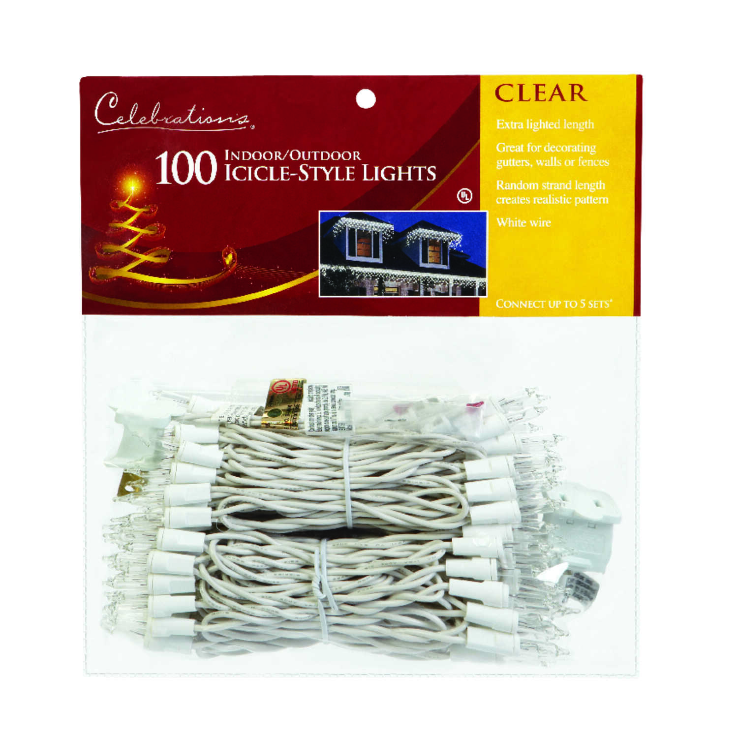 Celebrations  Incandescent  Icicle  Light Set  Clear  8.5 ft. 100 lights