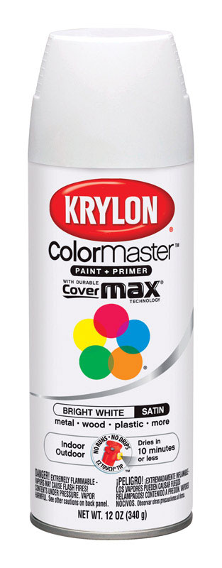 Krylon  ColorMaster  Satin  Bright White  Paint + Primer Spray  12 oz.
