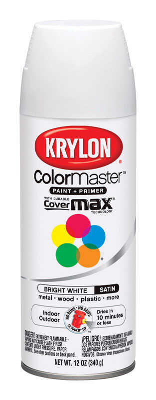 Krylon  ColorMaster  Satin  Bright White  Paint + Primer Spray Paint  12 oz.