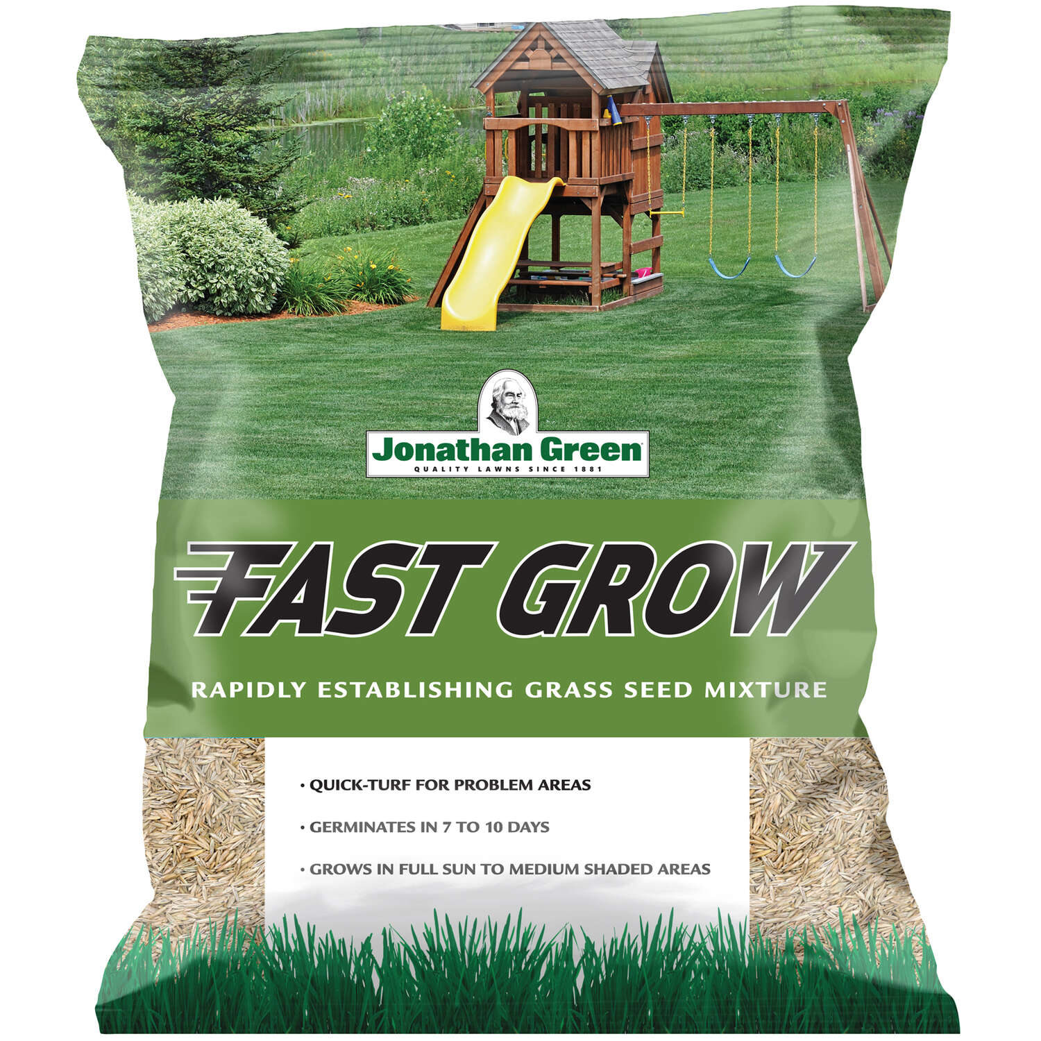 Jonathan Green  Black Beauty Fast Grow  Mixed  Sun/Partial Shade  Grass Seed  3 lb.