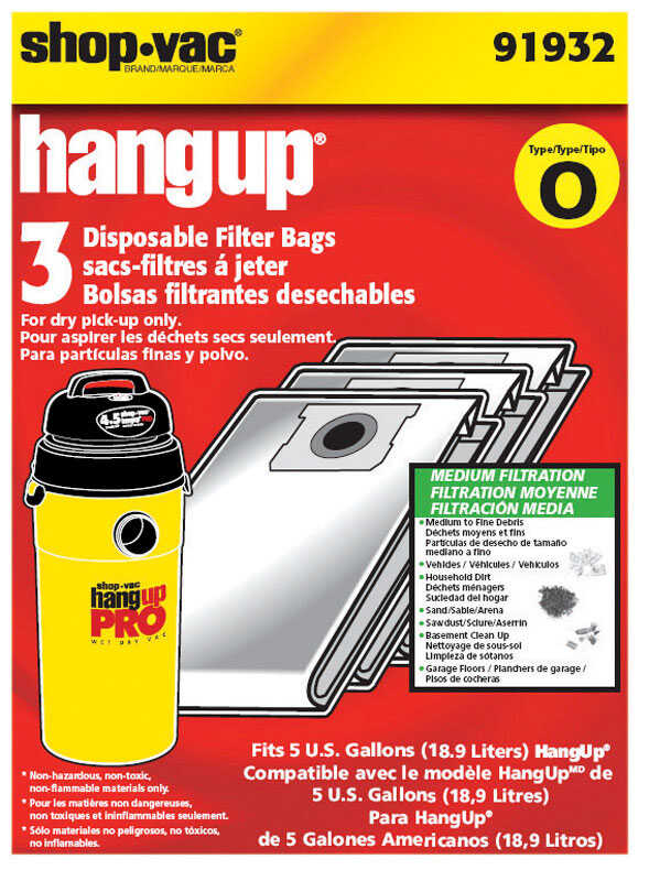 Shop-Vac  10 in. L x 8 in. W Wet/Dry Vac Filter Bag  5 gal. White  3 pk