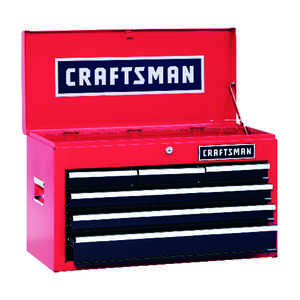 Craftsman  26 in. 12 in. D x 15-1/4 in. H 6 drawer Steel  Top Tool Chest  Red/Black