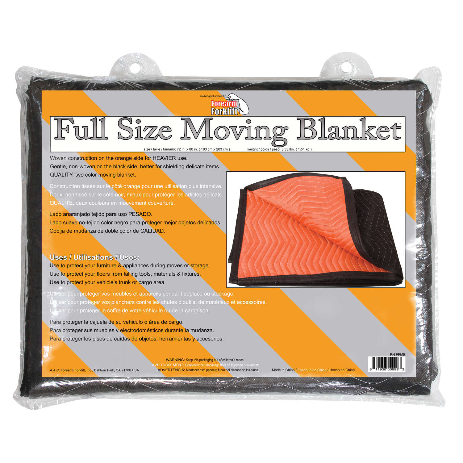 Pin D Oregon Couleur forearm forklift 72 in. w x 80 in. l movers blanket - ace