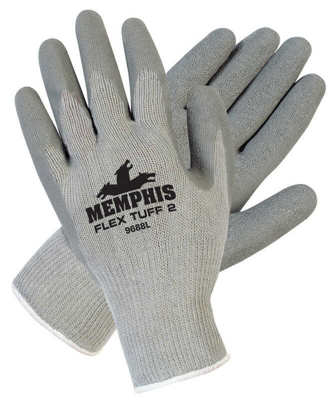 MCR Safety  Flex Tuff  Unisex  Cotton  Coated  Gloves  Gray  XL  10 pair