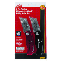Ace  2-Pack Folding Lock-back  6 in. Utility Knife Set  Black/Red