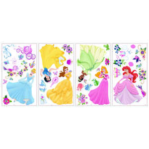 Roommates  Assorted in. W x 1 - 8 in. L Disney Princess Enchanted  Peel and Stick  Wall Decal